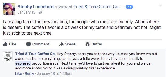 Coffee shop responding to a negative Facebook review