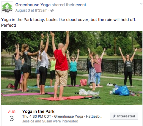 Yoga studio using health and fitness PR to promote classes